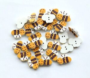 """Lot of 20 BEE 2-hole Wood Buttons 5/8"""" (16 x 11mm) (1203) Craft Scrapbook"""