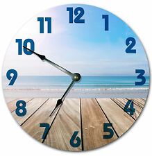 DECK ON THE OCEAN BEACH CLOCK Large 10.5 inch Round Wall Clock 2002