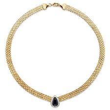 "PalmBeach Jewelry 4.75 TCW Genuine Blue Sapphire Necklace 18k Gold-plated 16"""