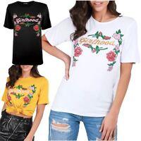 Womens Ladies Girlhood Gold Foil Celebrity Inspired Jersey Tee Basic Top T Shirt