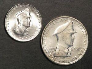 PHILIPPINES 1947S 1 Peso-50 Centavos MacArthur Silver BU - 2 Coins
