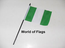 "NIGERIA SMALL HAND WAVING FLAG 6"" x 4"" Nigerian Africa African Crafts Display"