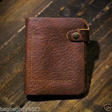 Vintage Style Real Leather Mens Brown Wallets Slim Front Pocket Card Money Bag