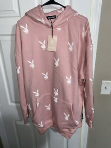 MISSGUIDED OFFICIAL PLAYBOY Pink Bunny Repeat Oversized Hoodie Dress Size 2
