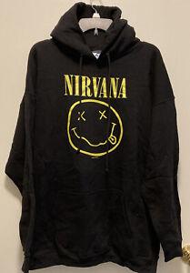 Vintage Nirvana Nevermind Smiley Logo Hoodie Sweater XL 90's Kurt Cobain Shirt