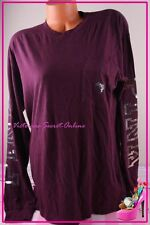 Victoria's Secret PINK Tee Shirt Crew Dog Bling Long Sleeves Sequins Burgundy M