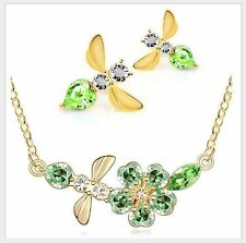 GOLD PLATED EMERALD GREEN AUSTRIAN CRYSTAL FLOWER BEE NECKLACE EARRING SET
