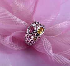 Classic 18k 18CT  white gold filled filigree CZ ring  Sz7 R-A263