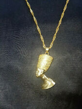 """Nefertiti Goldplated Pendant on 20"""" twisted chain Egyptian Queen African Goddess"""