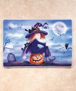 Halloween Witch Bath Nonskid Backing Rug Pumpkin Bathroom Home Decoration