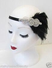Schwarz & Silber Feder Kopfteil Flapper Vintage 1920s Great Gatsby Stirnband M93