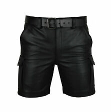 Men's Leather Black Cargo Shorts Club/Casual 100% Real Genuine Lambskin Leather