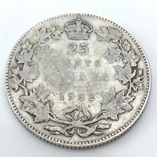 1932 Canada 25 Twenty Five Cents Quarter Silver King George V Canadian Coin G729