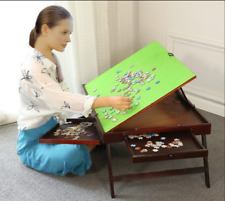 FOLDING TILTING WOODEN JIGSAW PUZZLE STORAGE TABLE Board+2 DRAWERS+AU STOCK