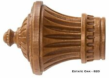 "Charleston Wood Oak Finials!! ONE PAIR! Fits 1 3/8"" Rods!!  FREE SHIPPING!!"