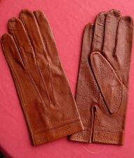 vintage gants cuir marron 8 1/4 peau fabrication française  NOS gloves