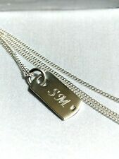 925 STERLING SILVER PERSONALISED DAINTY TAG PENDANT NECKLACE, CHRISTMAS GIFT