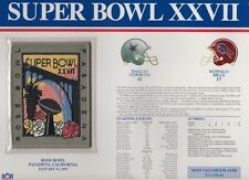 Cowboys vs Bills Super Bowl 27 Commemorative Patch Sealed in 9x12 Display