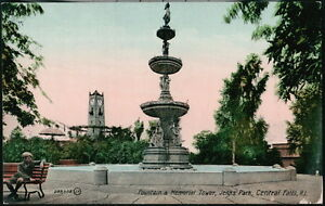 CENTRAL FALLS RI Jenks Park Fountain & Memorial Tower Antique Postcard Vtg View