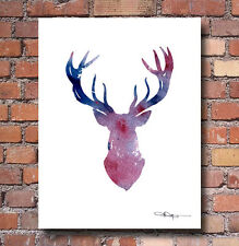 "Purple Deer Abstract Watercolor Painting 11"" x 14"" Art Print by Artist DJ Rogers"