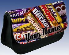 Ladies Girls Boys Personalised CHOCOLATE BARS Print Pencil Case MAKE UP DS Bag