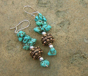 TURQUOISE NUGGET BEADS COPPER SILVER EARRINGS DANGLE Aimee Fuller Jewelry