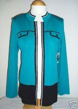 NWT Misook Turquoise Black Pointelle Hem Knit Jacket S