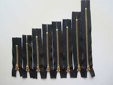 8 xBlack Closed End Zip Zippers Heavyweight Metal 3,4,5,6,7 inches, Mixed Sizes