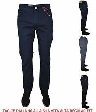 Nuovo Elegante High Elasticizzato Pantaloni Chino Blu Taglie Forti 60 66 72 74