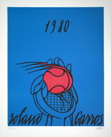 "VALERIO ADAMI Roland Garros French Open (Blue) SIGNED 34"" x 26"" Lithograph 1980"