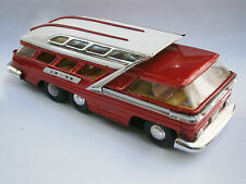 VINTAGE OLD CHINA CHINESE RED TIN TOY CAR BUS BATTERY OPERATED WORKS!