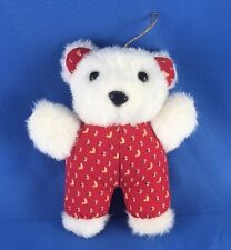 "VERY NICE Vintage Teddy Bear Plush Dan Dee 1988 Dandee 5"" White Stuffed Animal"