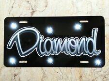 Airbrush Custom License Plate Gray Black Name Diamond Car Tag Decal Sticker