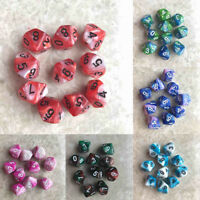 10pcs Set 10 Sided Dice D10 Polyhedral Dice Table Games DnD RPG w/ bag