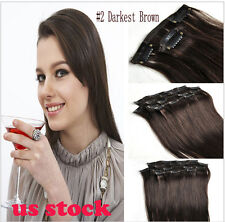 New 70g 100% Remy Virgin Hair Straight Clip in Human Hair Extentions 7 Pcs Set