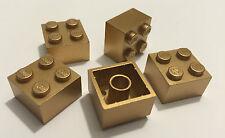 *NEW* 5 Pieces Lego BRICKS 2x2 METTALIC GOLD 3003