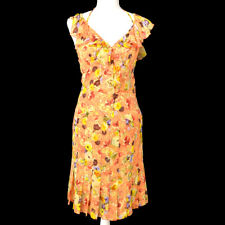 CHANEL 04P #34 Floral Short Sleeve Set Up Tops Shirt Skirt Orange AK41082