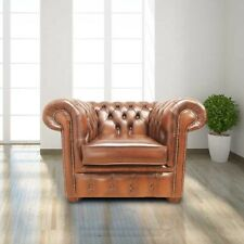 Chesterfield Original Belvedere Club Armchair Antique Tan Real Leather Handmade