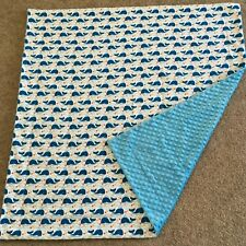 Handmade Baby or Toddler Blanket, Quilt, Play Mat-Blue Whale