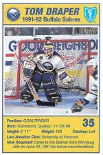 91-92 BUFFALO SABRES BLUE SHIELD POSTCARD #35 TOM DRAPER
