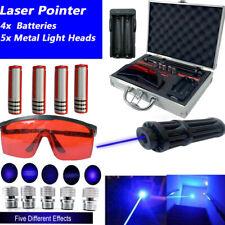 Blue Laser Pointer 450nm Pen Visible W/ 4×18650 Batteries+5xMetal Light Heads