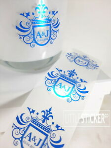 Clear Round Stickers BLUE FOIL print -  Print your own design or text X 50-200