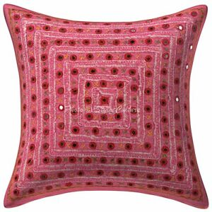 Indian Cotton Sofa Decorative Pillows Pink Embroidered Mirror Cushion Cover