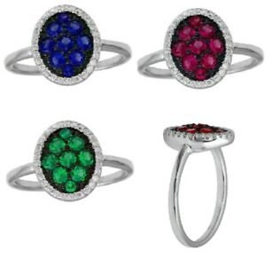 Sterling Silver Oval Shape Ring w/ Clear & Colored CZ Stones