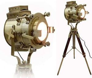 Antique Theater Marine Searchlight Nautical Wooden Tripod Retro Spotlight Studio