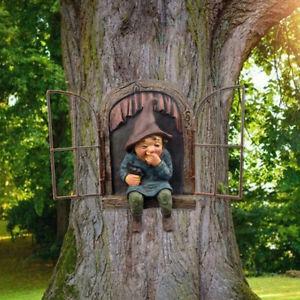 Frech Garten Gnome Statue Elf Aus Der Tür Baum Hugger Haus Garden Dekore DHL