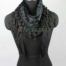 Women Plush Polka Dot Bump 2Layer Triangle Scarf Shawl Wrap Lace Trim Tassel New
