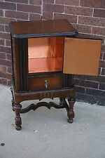 Edwardian English Tudor Antique humidor smoke cigar stand cabinet Table
