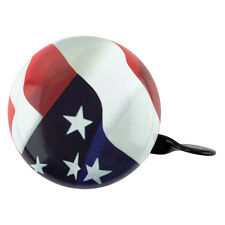 "LARGE STEEL 3"" BICYCLE BIKE DING DONG BELL USA FLAG OLD GLORY NEW"