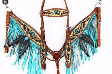 FRINGE & LEAF WESTERN LEATHER SHOW BRIDLE HEADSTALL BREAST COLLAR HORSE TACK SET